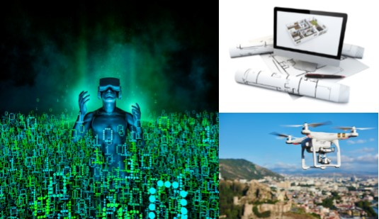 Pictures of the tech being used to sell homes today VR drones digital 2d and 3d floor plans