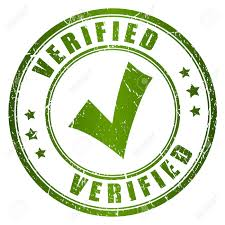 Verified and documented information approval stamp for real estate